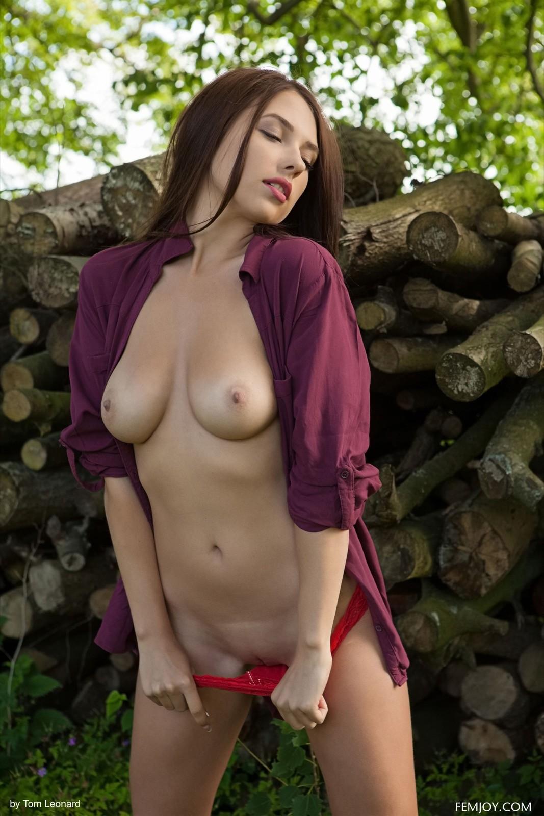 Шатенка в рубашке и трусах  - фото