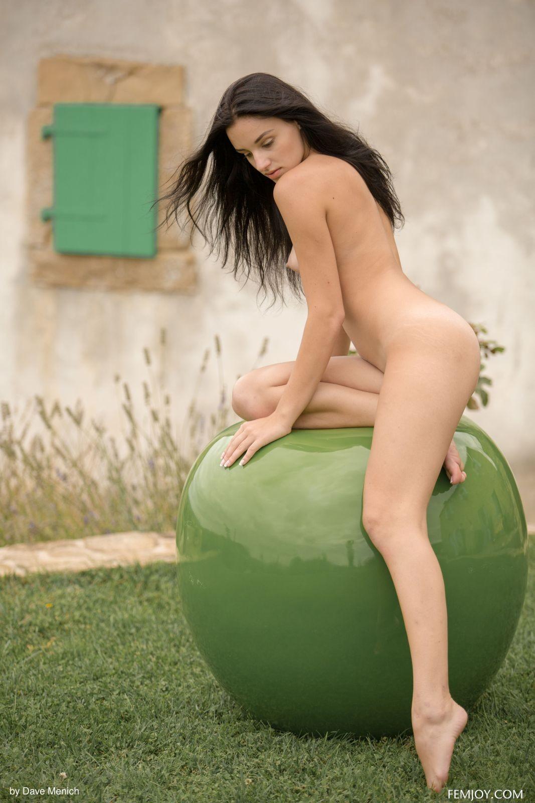 Голая красотка на травке - фото