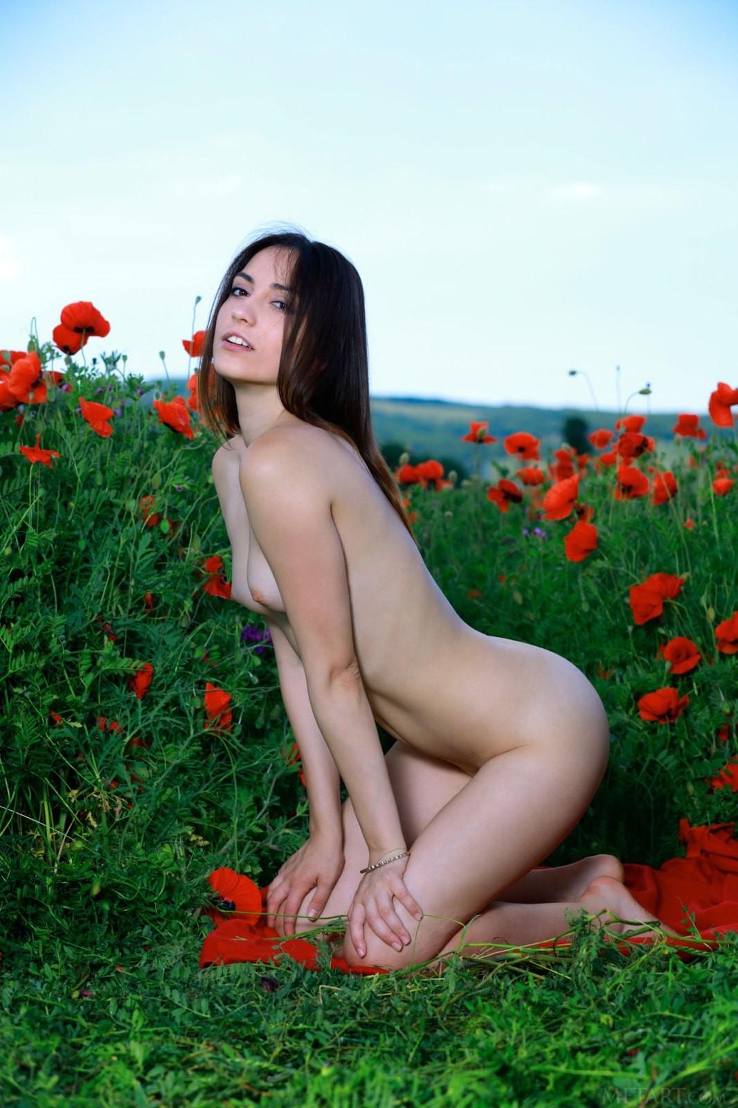 Показала красивую жопу в поле - фото